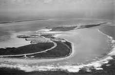 Wake Island and Peale Island pictured from Northeast May 1941, sourced from the United States National Archives. Crudely colorized using photos as reference