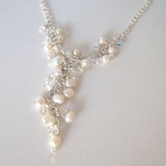 Bridal jewellery - Freshwater pearl cluster necklace. £45.00, via Etsy.