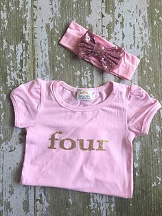 BIRTHDAY, Toddler girls pink with gold lettering, Number 4, four year old, birthday party, shirt, pictures, outfit, 4th, set, necklace