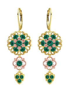 Lucia Costin Silver, Green Swarovski Crystal Earrings with Flower Elements. Lucia Costin flower shaped Dangle earrings. Crafted in shiny 24K Yellow and Pink Gold over .925 Sterling Silver. Wonderfully designed with emerald - green Swarovski crystals. Perfect to wear for special occasions and evenings - a must have piece. Unique jewelry handmade in USA.