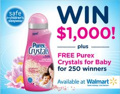 Enter to WIN $1,000 or 1 of 250 full-size bottles of NEW Purex Crystals for Baby!.esteryates69@yahoo.com