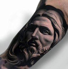 Incredible Inner Arm Bicep 3d Jesus Tattoos For Men