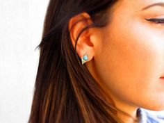 Sterling Silver Rhombus Blue Turquoise by CorneliousWhite on Etsy