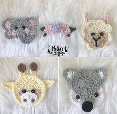 Crochet Patterns // Gifts // Maker Accessories // by NellasCottage Crochet Dinosaur Patterns, Applique Patterns, Crochet Blanket Patterns, Baby Blanket Crochet, Gift Maker, Crochet Mask, Manta Crochet, Crochet Animals, Crochet Wolf