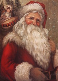 Old Fashion Santa ~ Fine-Art Print - Christmas Art Prints and Posters - Christmas Pictures Father Christmas, Santa Christmas, Winter Christmas, Christmas Time, Vintage Christmas Images, Victorian Christmas, Celtic Christmas, Santa Pictures, Christmas Pictures