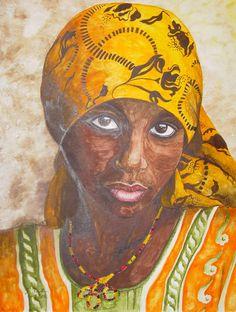 Aquarell: Afrikanerin - Jutta Bachmann