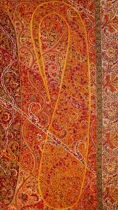 Complex and sophisticated Buta Paisley on Long Kashmir Paisley Shawl. Sikh-Period. Kashmir. Pashmina. ca. Mid 19th Century.