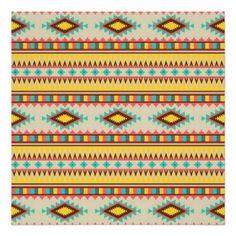Colorful Aztec Tribal Native American Diamonds Print