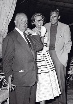 """Alfred Hitchcock, Grace Kelly, and Cary Grant on the set of """"To Catch a Thief"""""""