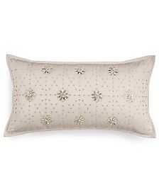 "Hotel Collection Finest Sunburst Embroidered 12"" x 22"" Decorative Pillow, beadwork"