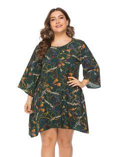 Plus Size Dress Loose Soft Stylish Print Mini Dress, Green / Polka Dot Blouse, Fashion Pattern, Long Floral Maxi Dress, Plus Size Mini Dresses, Glamour, Vestidos Vintage, Straight Dress, Patchwork Dress, Print Chiffon