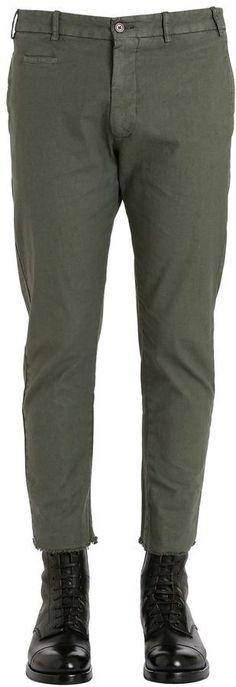 Berwich 17.5cm Raw Hem Slim Cotton Linen Pants