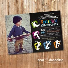 Skateboard Scooter Birthday Party Invitation Cool By Mtipsy