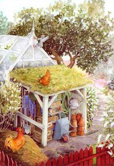 38 Super Ideas for garden illustration inge look Art And Illustration, Garden Arbor, Garden Painting, Up Girl, Oeuvre D'art, Illustrators, Folk Art, Cute Pictures, Artsy