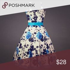 """Retro Rockabilly Swing Dress White, black and blue Elegant pinup print retro 50s style rockabilly pleated dress. Brand New. Fits 16-18.  Bust is 43"""" with some stretch and waist is 38"""". Dresses Midi"""