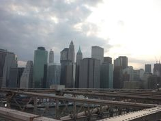 A view of the New York skyline from Brooklyn Bridge