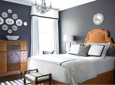 charcoal white bedroom  love the dark, relaxing walls