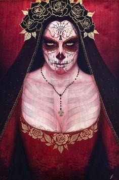 Santa Muerte by Sylvia Ji. Acrylic mixed media on wood panel. Sylvia Ji, Los Muertos Tattoo, Sugar Skull Makeup, Sugar Skulls, Day Of The Dead Art, 5 Image, Image Search, City Of Angels, Skull Art