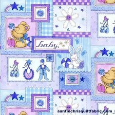 Cotton Quilt Fabric Baby Patchwork On Blue AE Nathan 0221 - product images  of