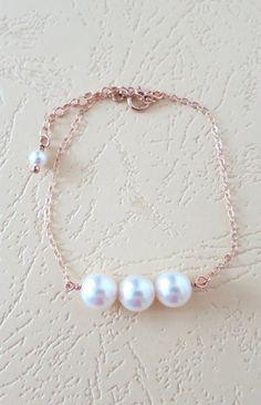 Rose Gold Filled Pearl Bracelet - Three pearls, best friend, friendship, bridesmaid, daughter, mother, bridal, flower girl bracelet, by ColorMeMissy, www.colormemissy.com