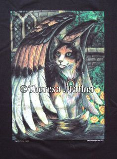 Mischief tshirt$20.00      Click to enlarge  A dramatic winged calico is on this 100% cotton tshirt, made for me by Offworld Designs.