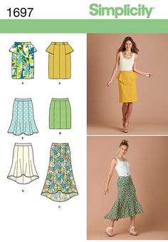 1697 Misses' & Miss Petite Skirts Misses' and miss petite princess-seamed skirts in pencil or trumpet shape have waist band and back zipper. Knee length A has peplum; B is mini length. Mid-calf C and knee length D have hi-low hem. E is knee length. Simplicity Sewing Pattern.