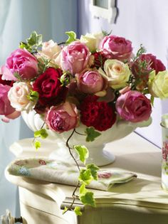 Classic vintage floral arrangement - see our urn style vintage vases like this for hire from Heirloom Vintage Tableware