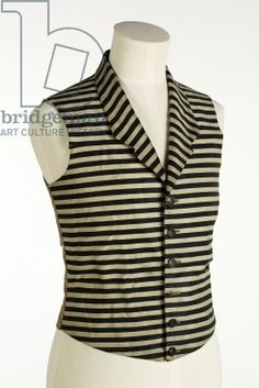Waistcoat with dark green and white horizontal stripes, c.1800-50 (silk & wool)