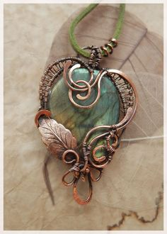 Pendant labradorite green Copper Wire winding Leaf Elven fantasy style Jewelry heart Ooak Birthstone Eco jewelry St Valentine Gift for her