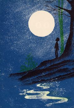 "Illustration from ""Look at the Moon"" written by May Garelick, illustrated by Leonard Weisgard Stars And Moon, Sun Moon, Nocturne, Moon Dance, Look At The Moon, Moon Images, Good Night Moon, Beautiful Moon, Moon Art"