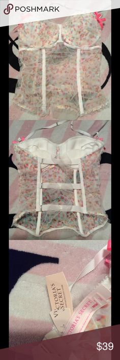 Victoria's Secret Tulle Bustier Victoria's Secret Tulle Bustier with white boning in front.  Can where with or without halter strap.  One Piece.  Size:  36C  New with tag.  Does NOT include Panties.  Price adjusted for that. Victoria's Secret Intimates & Sleepwear Bras