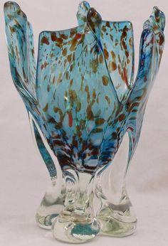 "Blown Art Glass Pedestal Vase Blue Orange Speckled 4 Leg Stand 7 1/4"" Tall"