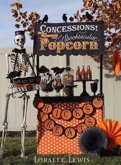 Loralee Lewis - Halloween Movie Party! Popcorn, Anyone?  Here's a peek at the concessions stand I put together for our Halloween Drive In Movie party.  More fun and inspiration on the blog tomorrow. www.LoraleeLewis.com