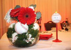 Wedding wedding details wedding ideas baseballs roses red roses sports themed centerpiece use purple and white flowers junglespirit Images