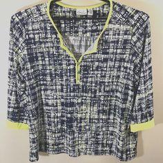 1b96e5bb6497 Kim Rogers Womens Extra Large Blouse Black White Geometric 3/4
