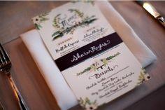 beautiful custom menu byAnna Bond of Rifle Paper Co. Photo by Weddings by Two via Style Me Pretty.