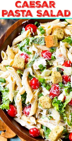 A creamy and delicious pasta salad with all the flavors of a Caesar Salad. Caesar Pasta Salad - A creamy and delicious pasta salad with all the flavors of a Caesar Salad. Healthy Pasta Recipes, Pasta Salad Recipes, Healthy Salads, Cooking Recipes, Food Recipes Summer, Savory Salads, Dressing Caesar, Clean Eating Snacks, Healthy Eating