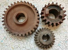 Antique Rustic Lot Of 3 Cast Iron Industrial Machine Age Gears Steampunk Art!