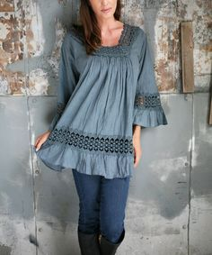 Another great find on #zulily! Gray Embroidered Square-Neck Tunic by Ananda's Collection #zulilyfinds