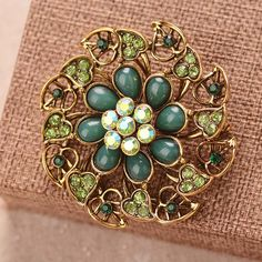 Retro Rhinestone Jewelry Vintage Brooch Pins Luxury Resin Flower Leaf Antique Round Brooches For Women #Affiliate