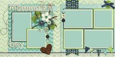 """12""""x12"""" premade scrapbook pages. Double page Layouts. 3D like look!"""