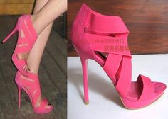 现货ZA*RA女鞋正品鱼嘴 桃红色弹力布防水台细跟超高跟凉鞋-淘宝网