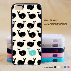 Cute Black Whale Phone Case For iPhone 6 Plus For iPhone 6 For iPhone 5/5S For iPhone 4/4S For iPhone 5C-5 Colors Available