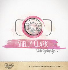 Premade Watercolor Camera Logo Design for Photographers and Photography Studio. I like the whimsy in this one too. simple, but fun