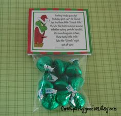 Filled Christmas Bag Toppers, Grinch Inspired, Party Favors, Stocking Stuffers