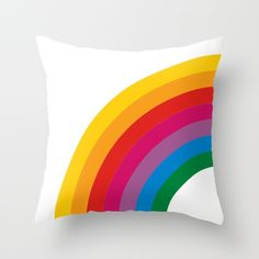 Retro Rainbow Brights - Left Throw Pillow by Circa78Designs - $20.00
