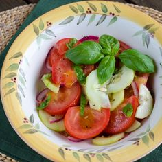 Easy Tomato Cucumber Salad is perfect for a summer picnic or barbecue. #paleo #glutenfree #dairyfree