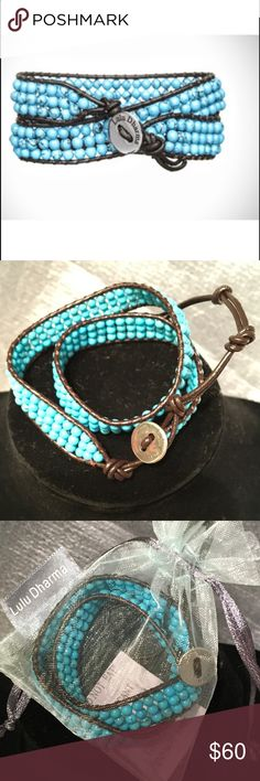 """Lulu Dharma wrap bracelet Color:  turquoise and dark brown   Measurements:  12"""" of beading and 3"""" of leather for adjustable fit  Description: Hand made double wrap bracelet. Comes in pretty organza bag.... PERFECT FOR GIFT GIVING!!!!   Bundle and save!!!! Thanks for looking! Jennifer 💋 Lulu Dharma Jewelry Bracelets"""