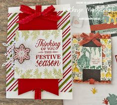Stampin' Up! Merriest Moments, Christmas Card created by Kathryn Mangelsdorf Acetate Cards, Red Accessories, Relaxing Day, 3d Projects, Ribbon Bows, Stampin Up, Card Stock, Red And White, Christmas Cards