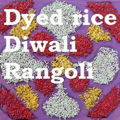 Diwali craft - Making a Rangoli using dyed rice